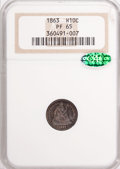Proof Seated Half Dimes, 1863 H10C PR65 NGC. CAC....