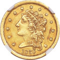 Classic Quarter Eagles, 1838 $2 1/2 AU58 NGC. Breen-6146, Variety-19, R.2....
