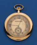 Timepieces:Pocket (post 1900), Swiss 18k Gold, 46 mm, Ultra-thin Open Face. ...