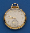 Timepieces:Pocket (post 1900), Elgin 21 Jewel, 18k Gold 12 Size With Raised Relief Case. ...