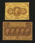 Fractional Currency:First Issue, Fr. 1230 5¢ and Fr. 1281 25¢ First Issue Notes.. ... (Total: 2 notes)