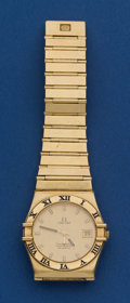 Timepieces:Wristwatch, Omega Quartz Constellation Wristwatch, 18k Gold With Short 5 1/2Inch Gold Bracelet. ...