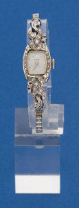 Timepieces:Wristwatch, Hamilton 14k White Gold Diamond Wristwatch, 14k White Gold BandWith Diamonds. ...
