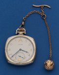 Timepieces:Pocket (post 1900), Hamilton White Gold Filled 12 Size With Chain. ...