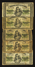 Canadian Currency: , 1870 Shinplasters.. ... (Total: 5 notes)