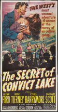 "Movie Posters:Western, The Secret of Convict Lake (20th Century Fox, 1951). Three Sheet(41"" X 81""). Western.. ..."