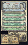 Canadian Currency: , Mixed Lot of Seven Circulated Canadian Notes.. ... (Total: 7 notes)