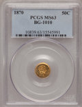 California Fractional Gold: , 1870 50C Liberty Round 50 Cents, BG-1010, R.3, MS63 PCGS. PCGSPopulation (29/60). NGC Census: (2/12). (#10839)...