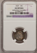 Bust Dimes: , 1829 10C Small 10C--Improperly Cleaned--NGC Details. AU. NGCCensus: (3/212). PCGS Population (11/167). Mintage: 770,000. N...