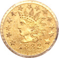California Fractional Gold, 1882 25C Indian Round 25 Cents, BG-892, High R.7, MS65 PCGS....