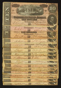 Confederate Notes:1864 Issues, T68 $10 1864 Seventeen Examples.. ... (Total: 17 notes)