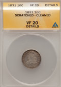 Bust Dimes, 1831 10C --Scratched Cleaned--ANACS. VF20 Details. NGC Census:(2/267). PCGS Population (3/271). Mintage: 771,350. Numismedi...