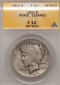 Peace Dollars, 1921 $1 --Cleaned--ANACS. Fine 12 Details.. NGC Census: (21/10348). PCGS Population (28/12796). Mintage: 1,006,473. Numismed...