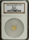 California Fractional Gold: , 1856 25C Liberty Octagonal 25 Cents, BG-111, R.3, MS63 NGC. NGCCensus: (5/9). PCGS Population (71/44). (#10380)...