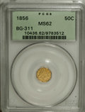 California Fractional Gold: , 1856 50C Liberty Octagonal 50 Cents, BG-311, Low R.4, MS62 PCGS.PCGS Population (30/23). NGC Census: (4/3). (#10436)...