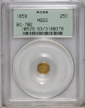 California Fractional Gold: , 1859 25C Liberty Octagonal 25 Cents, BG-702, R.3, MS63 PCGS. PCGSPopulation (43/88). NGC Census: (4/7). (#10529)...