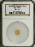 California Fractional Gold: , 1880 25C Indian Octagonal 25 Cents, BG-799W, High R.6, MS62 NGC.NGC Census: (1/0). PCGS Population (1/14). (#10649)...