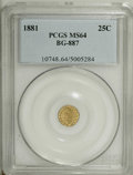 California Fractional Gold: , 1881 25C Indian Round 25 Cents, BG-887, R.3, MS64 PCGS. PCGSPopulation (67/26). NGC Census: (4/0). (#10748)...