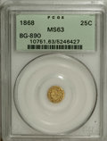 California Fractional Gold: , 1868 25C Indian Round 25 Cents, BG-890, High R.5, MS63 PCGS. PCGSPopulation (5/14). NGC Census: (1/1). (#10751)...