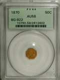 California Fractional Gold: , 1870 50C Liberty Octagonal 50 Cents, BG-922, R.3, AU58 PCGS. PCGSPopulation (24/77). NGC Census: (1/9). (#10780)...
