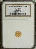 California Fractional Gold: , 1871 50C Liberty Round BG-1011 MS62 Prooflike NGC. NGC Census:(4/7). (#710840)...