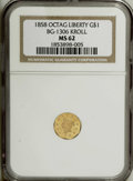 California Fractional Gold: , 1858 G$1 Octag Liberty BG-1306 Kroll MS62 NGC....