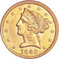 Liberty Half Eagles, 1842-C $5 Large Date AU55 PCGS. Variety 1....