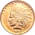 Indian Eagles, 1908 $10 No Motto MS64 PCGS....