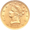 Liberty Eagles, 1857-S $10 AU58 NGC....