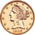 Proof Liberty Half Eagles, 1905 $5 --Altered Surfaces--ANACS. PR58 Details....