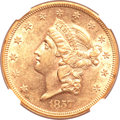 Liberty Double Eagles, 1857 $20 AU58 NGC. CAC....
