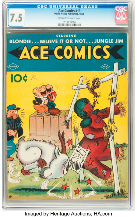 Ace Comics #19 (David McKay Publications, 1938) CGC VF- 7.5 Off-white to white pages....