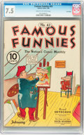 Golden Age (1938-1955):Humor, Famous Funnies #43 Lost Valley pedigree (Eastern Color, 1938) CGC VF- 7.5 Cream to off-white pages....