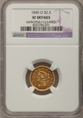 Liberty Quarter Eagles, 1845-O $2 1/2 --Improperly Cleaned--NGC Details. XF....