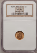 Commemorative Gold: , 1917 G$1 McKinley MS65 NGC. NGC Census: (257/215). PCGS Population(568/409). Mintage: 10,000. Numismedia Wsl. Price for pr...