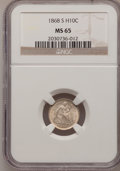 Seated Half Dimes: , 1868-S H10C MS65 NGC. NGC Census: (18/5). PCGS Population (10/3).Mintage: 280,000. Numismedia Wsl. Price for problem free ...