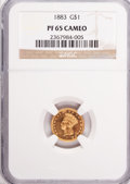 Proof Gold Dollars: , 1883 G$1 PR65 Cameo NGC. NGC Census: (8/15). PCGS Population (2/2). (#87633)...