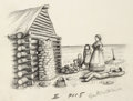 Mainstream Illustration, GARTH WILLIAMS (American, 1912-1996). Little House on thePrairie, The New Fireplace, page 115 illustration, 1953.Penci...