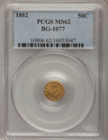 California Fractional Gold, 1882 50C Indian Round 50 Cents, BG-1077, High R.6, MS62 PCGS....