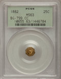 California Fractional Gold, 1882 25C Indian Octagonal 25 Cents, BG-799CC, R.6 MS63 PCGS....
