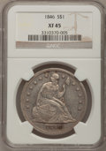 Seated Dollars: , 1846 $1 XF45 NGC. NGC Census: (51/269). PCGS Population (77/275).Mintage: 110,600. Numismedia Wsl. Price for problem free ...