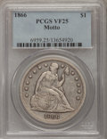 Seated Dollars: , 1866 $1 Motto VF25 PCGS. PCGS Population (5/143). NGC Census:(3/75). Mintage: 48,900. Numismedia Wsl. Price for problem fr...