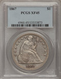 Seated Dollars: , 1867 $1 XF45 PCGS. PCGS Population (16/98). NGC Census: (0/47).Mintage: 46,900. Numismedia Wsl. Price for problem free NGC...