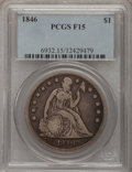 Seated Dollars: , 1846 $1 Fine 15 PCGS. PCGS Population (2/457). NGC Census: (2/358).Mintage: 110,600. Numismedia Wsl. Price for problem fre...
