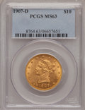 Liberty Eagles: , 1907-D $10 MS63 PCGS. PCGS Population (115/47). NGC Census: (12/7).Mintage: 1,030,000. Numismedia Wsl. Price for problem f...