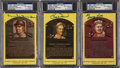 Baseball Collectibles:Others, Hall of Fame Plaque Signed Postcards Lot of 3....