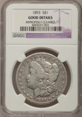Morgan Dollars: , 1893 $1 --Improperly Cleaned--NGC Details. Good. NGC Census:(3/3075). PCGS Population (13/4856). Mintage: 389,792. Numismed...