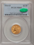 Indian Quarter Eagles: , 1914-D $2 1/2 MS62 PCGS. CAC. PCGS Population (1514/1561). NGCCensus: (3047/2338). Mintage: 448,000. Numismedia Wsl. Price...