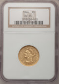 Liberty Half Eagles: , 1844 $5 AU55 NGC. NGC Census: (60/121). PCGS Population (20/40).Mintage: 340,330. Numismedia Wsl. Price for problem free N...