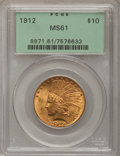 Indian Eagles: , 1912 $10 MS61 PCGS. PCGS Population (535/2571). NGC Census:(1302/3093). Mintage: 405,083. Numismedia Wsl. Price for proble...